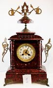 Xixs Antique French Napoleon Iii Clock Mantle Bronze And Marble Solid Weighter