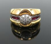 Gerard 0.80ct Fine Ruby And 0.33ct Diamond 18k Gold Cluster Ring Size 7.75