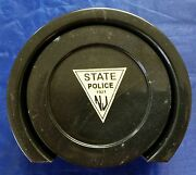 New Jersey State Police Njsp Triangle Black Marble Coaster Set Of 4 With Caddie