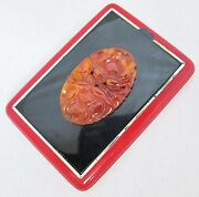 Walter Lampl Art Deco Enameled Compact W/ Chinese Carved Carnelian Agate 2.95