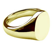 New 18ct Yellow Gold Oval Signet Ring 16 X 13 X 3mm Heavy Solid Uk Made Fully Hm