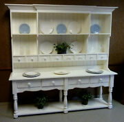 Large Pine French Farmhouse Wide Hutch Beaded Board Back A Classic Usa Made