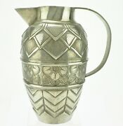 A French Art Deco Pewter Pitcher Andre Villien Hand Wrought Signed