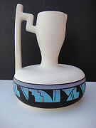 UTE MOUNTAIN POTTERY PITCHER/JUG SIGNED, #32 - CREAM BLACK AND BLUE
