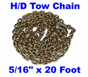 5/16 X 20 Ft Long Grade 70 4700 Lb. Truckers Chain Tow With Clevis Grab Hooks