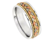 Tricolor 18k White Yellow Rose Gold Wedding Band Braided 7.5mm Comfort Fit Men