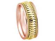 18k Rose Yellow Gold Wedding Band 2tone Chain Design 8mm Comfort Fit Ring