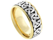 18k Yellow White Gold Band 2tone Celtic 8.5mm Comfort Fit Mens Women Wedding
