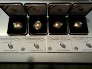Us Mint Boxed 2 Unc + 2 Proof 2014 5 National Baseball Hall Of Fame Gold Coin
