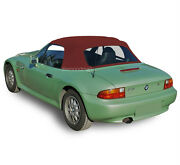 Bmw Z3 1996-2002 Convertible Soft Top And Plastic Window Burgundy Stayfast Cloth