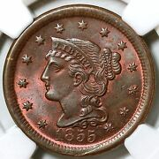 1855 N-4 Ngc Ms 66 Rb Tds Braided Hair Large Cent Coin 1c
