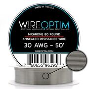 30 Gauge Awg Nichrome 80 Wire 50' Length - N80 Wire 30g Ga 0.254 Mm 50 Ft