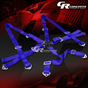 6-point 3 Wide Blue Strap Harness Safety Camlock Style Racing Seat Belt+bolts