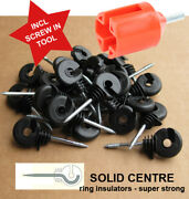 Ring Insulators X 200 - Superior Electric Fencing Rings + Free Screw In Tool