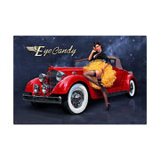Eye Candy Vintage Classic Auto Car Pin Up Pinup Girl Tin Metal Steel Sign 36x24