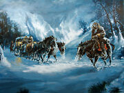Americo Makk Winter Stage Hand Signed Serigraph W/coa Horse Carriage In Snow