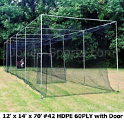 Batting Cage Net 12and039 X 14and039 X 70and039 42 Hdpe 60ply With Door Heavy Duty Baseball