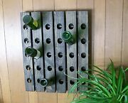 Wine Riddling Rack Distressed French Style Wood Hand Crafted Wall Hanging