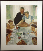 Norman Rockwell Freedom From Want Vintage Collotype Art Print Thanksgiving Obo