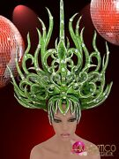 Silver Accented Drag Queenand039s Flame Styled Green Glitter Diva Headdress