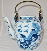 Antique Chinese Blue And White Porcelain Teapot W/ Foo Dogs And 4 Marks 7 Tall