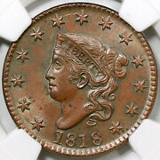 1818 N-7 Ngc Ms 64 Bn Matron Or Coronet Head Large Cent Coin 1c