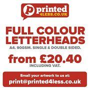 Letterheads A4 Printed Full Colour 90gsm Quality Paper Single Double Stationery