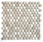 Penny Round 3/4 Multi-shade Bisque Porcelain Mosaic Wall And Floor Tile Bath