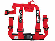 Sparco Racing Street 3 Point Bolt-in 2 Seat Belt Harness Red