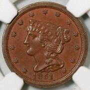 1851 C-1 Ngc Ms 61 Very Eds Braided Hair Half Cent Coin 1/2c