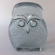 Vintage Blenko Art Glass Clear Solid Owl Book End Heavy Textured Mcm