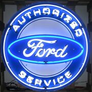 Authorized Ford Service Neon Sign - Massive 36 - Metal Can - Trucks Dealer Olp