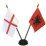 England And Albania Double Friendship Table Flag Set And Choice Of Base