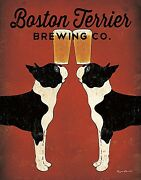Boston Terrier Brewing Co Ryan Fowler Vintage Beer Ads Dogs Print Poster 11x14