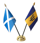 Scotland And Barbados Double Friendship Table Flag Set Choice Of Base