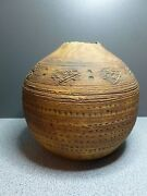 Brown Pottery Vase Signed Lines Dots Decoration Drawn Up Center Hole Artist Made