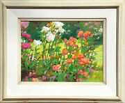 Kim Mackey Park Roses Hand Signed Original Oil Painting On Board, Floral, Obo