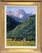 Tim Diebler Untitled Hand Signed Original Oil Painting Art Farm And Mountain Obo