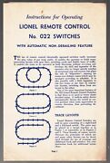 [52906] 1948 Lionel Remote Control No. 022 Switches Operating Instructions