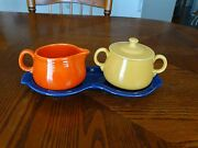 Vintage Individual Yellow Covered Sugar Red Creamer And Cobalt Tray Free Shipping