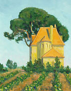 Gary Michael Untitled Original Oil Painting On Board, Landscape, Farm House, Obo