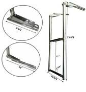 Marine Boat Stainless Steel 2 Step Telescopic Folding Ladder Rubber Foot Grips