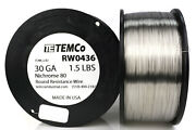 Temco Nichrome 80 Series Wire 30 Gauge 1.5 Lb 5244ft Resistance Awg Ga