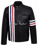 And039easy Riderand039 Menand039s Black Motorcycle Style Biker Real Lambskin Leather Jacket