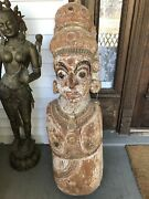 Antique Salvage Architectural Column Indonesian Buddhist Temple Guard Dvarapala