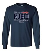 Long Sleeve Adult T-shirt Marco Rubio For President 2016 Campaign Election Dt