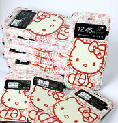 Hello Kitty Pink Flowers Leather Card Wallet Flip Pouch Case Cover Phone Holder