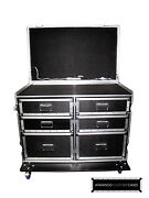 Dual Workbox 6-drawer W/table Customizable Heavy Duty Road Case Made In Usa