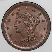 1851/inv 18 N-3 Ngc Ms 64 Bn Braided Hair Large Cent Coin 1c