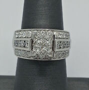 14k Gold Ladies Engagement With 1.75ct Princess Cut And Round Diamonds